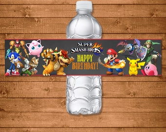 Super Smash Brothers Drink Label -- Super Smash Brothers Water Bottle Label-- Super Smash Brothers Birthday - Video Game Birthday Party