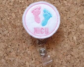 NICU Badge Reel | Baby Feet Badge Reel | Maternity PINK Felt Badge Reel | Badge Clip |  213