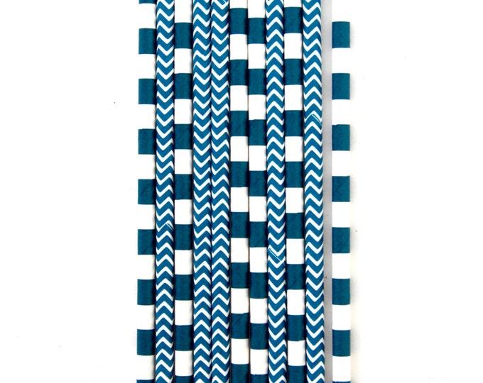 Navy Blue Straw With Gold Flag, Paper Straw, Blue Straw, Gold Straw Flag, Baby Shower or Wedding Straw, Straw
