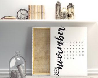 Printable 2016 Wall calendar, Wall planner, A3 Calendar, Black watercolor, Minimal calendar, Instant download, Printable wall planner