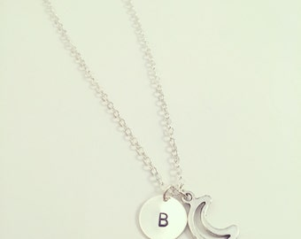 Little Moon Necklace - Optional Extra Personalised Initial Disc - Available in silver plated