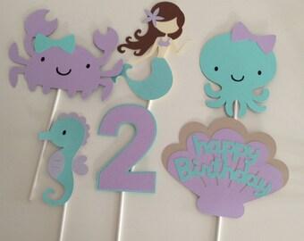 6 Piece Mermaid Centerpiece | Under The Sea Centerpiece | Mermaid Party Decorations | Under The Sea Decorations | Lavender and Aqu