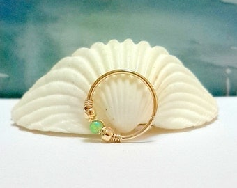 Green Opal 2mm septum ring, nose piercing,20 - 22 Gauge, 6 - 10mm inner diameter, gold septum ring, silver nose hoop,october's birthstone