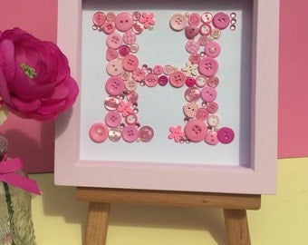 Personalised button initial artwork - framed button letter art - monogram - pink - nursery art
