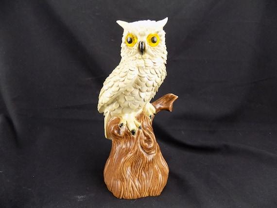 Ceramic Owl Figurine- White Owl on Brown Tree Studio Pottery home decor