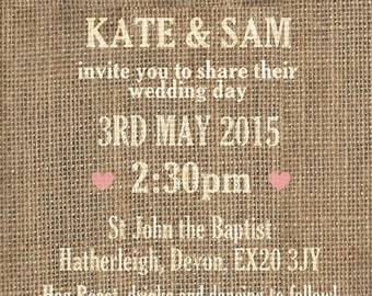 SAMPLE Hessian Burlap Rustic Bunting Country Wedding Invitations!