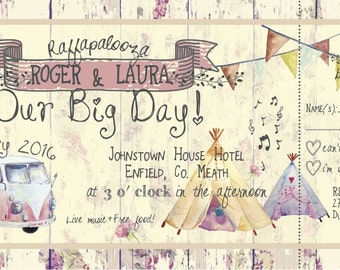 SAMPLE Shabby Chic Summer Fete Bunting Camper Van Ticket Wedding Invitations!