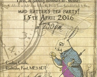 50 Alice in Wonderland Old Vintage Rustic Wedding Invitations!