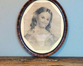 Antique Oval Picture Frame, Victorian Frame with Glass, Portrait Drawing
