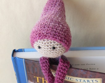 Book Buddy Little Gnome Bookmark - Purple Ombre 1 - Crochet Amigurumi Gift, Toy, Finished Product