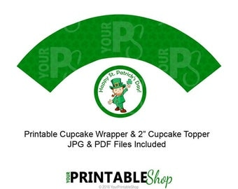 St. Patrick's Day Cupcake Wrapper, Green, St. Patty's Day, Leprechaun, St. Patrick's Day, Instant Download, Cupcake Wrapper, Cupcake Topper