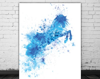 Blue Watercolor Horse Decor, Blue Horse Print, Animal Watercolor Splash, Blue Abstract Horse Art Print, Horse Wall Art, Horse Painting