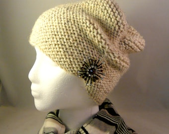 Hand Knit Slouchy Hat Repurposed Upcycled Vintage Jewelry Brooch