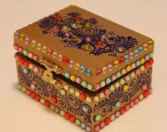 Gold Multicolor Jewelry Box