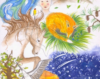Original Watercolor Print, Earthmother, Life of Creation, Mother Goddess, We are all Conected, Spirit of the Earth, Mother's Day