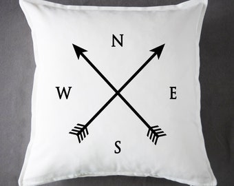 Compass - 20 x 20 - 100 % Cotton - Throw Pillow - Accent Pillow - Cushion Cover - Pillow Cover