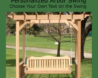 New Personalized Cedar Deluxe Decorative Arbor and 4 Foot Porch Swing - Choice of Your Name/Phrase Woodburned on Swing - Free Shipping
