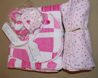 Baby Recieving Blanket Gift Set - pink patchworkand dots
