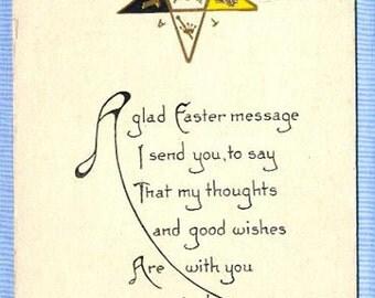 Postcard, Masonic Eastern Star Emblem, Easter Greeting, Circa 1910
