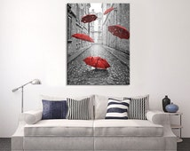 Canvas Art Red Umbrellas on Paris Street - Paris France Street Canvas Art - Umbrellas in Paris Road Canvas Print - Eiffel Tower Canvas Print