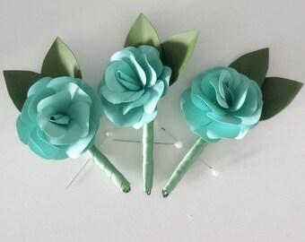 Paper flower boutonnier - wedding - groomsman - rose - teal - sage