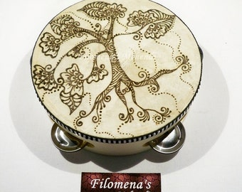 Tambourine, Henna art, Tree of Life, Bohemian decor, Boho home decor, Boho style, Drum circle, Gifts for teen girls, Music festival gear