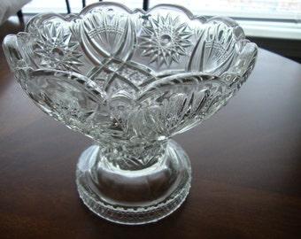Vintage Fancy Cut Glass Pedestal Candy/Compote Bowl