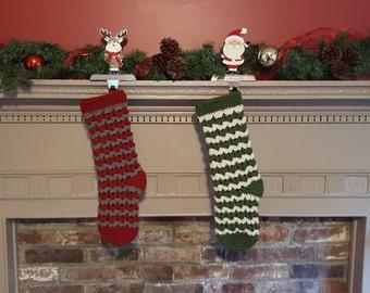Striped Christmas Stocking - Christmas in July - Holiday Decoration - Custom Crochet Christmas Stocking - Christmas Decor - Holiday Gift