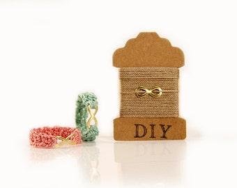 Craft Kit - Infnity ring - Friendship ring - crochet thread - DIY Jewelry - brass - MudenoMade
