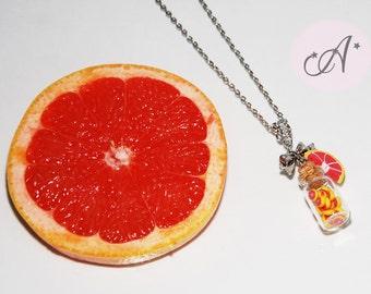 Necklace pink grapefruit, pendant glass jar containing miniature grapefruit slices, charm fruit, MADE TO ORDER