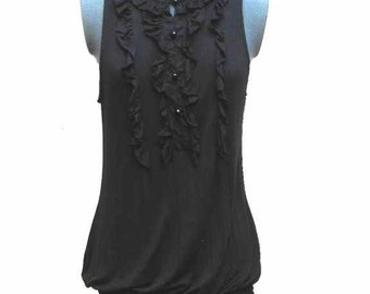 Vintage Women's Sleeveless Black Rayon Top by Arden B Size S