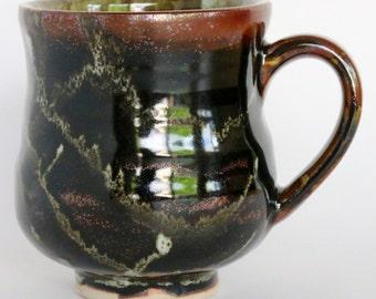 Tenmoku Glazed Ceramic Mug, 12 oz.