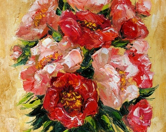 Peony oil painting, Original floral Impasto painting, Gift for her, Canvas Wall art decor, Palette knife painting, Pink Flower painting
