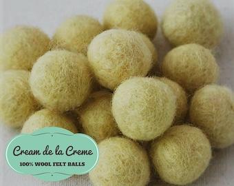 Wool Felt Balls, Wool Felt Beads, Felt Pom Poms, Felt Balls In Bulk, Felted Balls, Felted Beads, Cream Felt Balls, Champagne Color