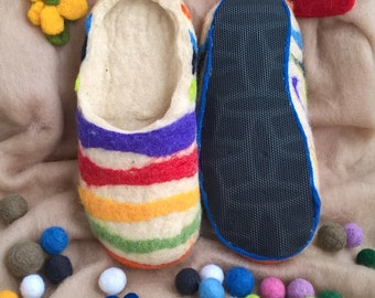 Felt Slippers Felted Home Slippers Shoes Wool Felt Slippers Colorful Womens Slippers Footwear, Mothers Day Gift for Mother Daughter Wife