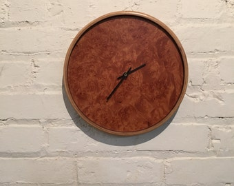 Modern Maple Burl Wood Clock