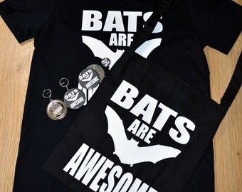 Bats are awesome bundle! T-shirt, bag, bottle opener, pocket mirror and badge.