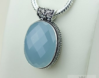 CHALCEDONY VINTAGE Style 925 Solid Sterling Silver Pendant + 4mm Snake Chain p3187