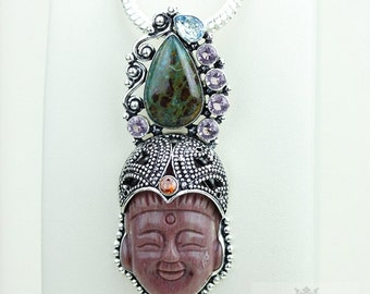 Unique Concept at Work! Kwan Yin Guanyin BUDDHA Goddess Face Moon Face 925 S0LID Sterling Silver Pendant + 4MM Chain & Free Shipping p3767