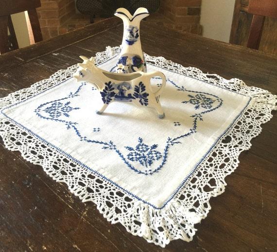 Cross stitch tablecloth tovaglia ricamata vintage quadrato - Tovaglia tavolo quadrato ...