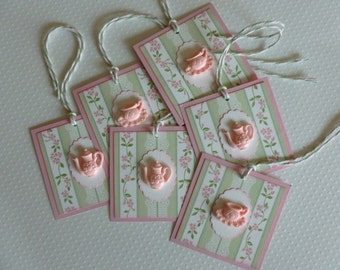 Tea party tags, favor tags, pink and mint, floral tea pot, tea cup cabochons bridal or baby shower - set of 6