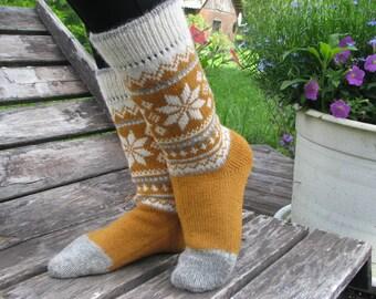 knit socks mustard socks wool socks knitted socks Scandinavian Norwegian  Christmas socks gift to man gift to woman men socks Women socks