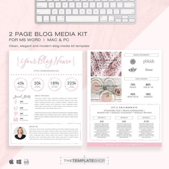 Media kit template 2 page blog media kit press kit media kit template 2 page blog media kit press kit template electronic press kit instant download ms word pink and modern pronofoot35fo Image collections