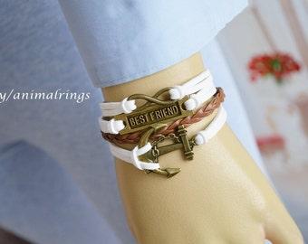 Best Friend Bracelet, Anchor Bracelet, Infinity Bracelet, Charm Bracelet, Leather Bracelet, Friendship Bracelet, White, Brown, Bronze