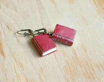 Miniature book earrings, Mini book earrings,  Mini books jewelry, Reader earrings, Book lovers gift, Book lover jewelry, Miniature books