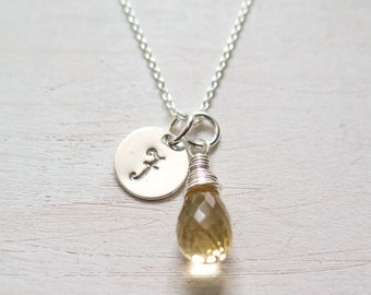 Personalized Citrine Necklace, November Birthstone, Sterling Silver, Wire Wrapped, Citrine Gemstone Jewelry, November Birthday Gift, For Her
