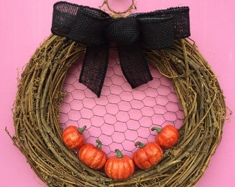 Pumpkin Wreath, Halloween Wreath, Pumpkin Door Wreath, Halloween Door Decor, Fall Wreath, Burlap Bow Wreath, Black Burlap Wreath