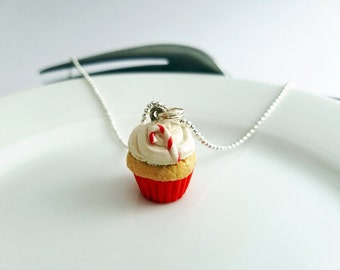Candy Cane Cupcake, Optional Peppermint Scent / Miniature Food Jewelry / Christmas Necklace / Food Jewelry / Bakery Charm / gifts under 20