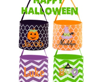 Embroidered Halloween Bucket - Monogrammed Halloween Bucket - Personalized Kid's Halloween Bucket - Trick or Treat Pail - Halloween Basket