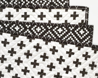 Nordic Wholecloth Quilt with Lozenges and Cross in Carbon >>READY-to-SHIP toddler quilt, black baby quilt, stroller quilt, modern crib quilt